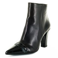 Marianna is a gorgeous supple nappa leather pointy toe ankle boot with contrasting patent leather and embossed snake detail toe cap.   MADE IN ITALY