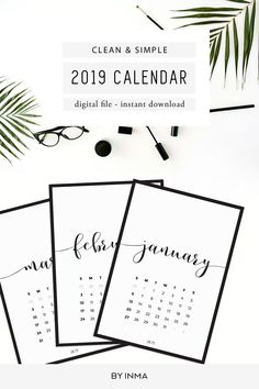 printable calendar pages 2019 small monthly calendar 2019 etsy