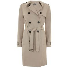 Mint Velvet Classic Trench Coat, Stone (12.315 RUB) ❤ liked on Polyvore featuring outerwear, coats, trench coat, brown double breasted coat, print trench coat, long sleeve coat and double breasted coat
