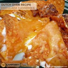 Dutch Oven Enchilada Casserole - easy and is a delicious spin on the regular enchilada using canned chili and Doritos!