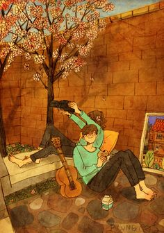 This article lists 15 illustrations that define true love. The illustrations are done by Korean artist, Puuung, talking about the everyday moments that really define love, rather than dramatic gestures. What's True Love, Real Love, What Is Love, Watercolor Free, Watercolor Paintings, Couple Illustration, Illustration Art, Puuung Love Is, Art Amour