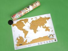 The 'Where I've Been' desk map gives folks an entertaining way to study the globe and scratch off the golden layer to reveal locations where they've traveled, or are setting sights for future voyages. The reverse side gives map owners the chance to fill in their various flight paths. $20