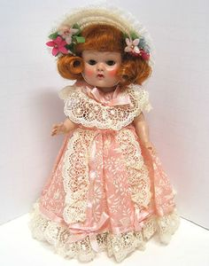 Vintage 1954 PLW Vogue Ginny Doll Redhead Flip Pink Organdy Bridesmaid - All Original