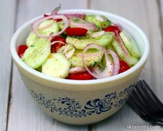 Classic Cucumber & Tomato Salad--perfect side dish!!  #cucumber #tomato #salad