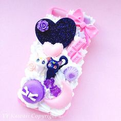 Custom Sailor Moon Luna and Artemis Kawaii Decoden Phone Case for Iphone Samsung Galaxy or Ipod Touch, HTC One X Bling Phone Cases, Phone Cases Samsung Galaxy, Diy Phone Case, Phone Diys, Ipod Touch, Galaxy S2, Cute Cases, Cute Phone Cases, Luna Et Artemis