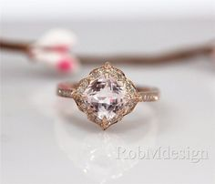 Peach Pink Morganite Ring Vintage Floral Design Engagement Ring 14k Rose Gold Ring Diamond Ring Wedding Ring Unstackable