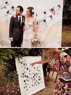 Homemade wedding photobooth / Ikea duvet plus Polaroid camera / from Andy Rapkins Photography