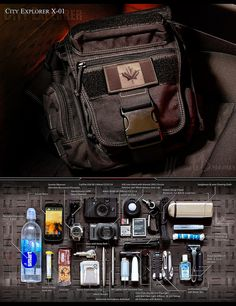 An experiment with product photography for a magazine style layout, playing on the Everyday Carry (EDC) phenomenon. This kit is intended for hiking and urban exploration. The contents of this kit were used to take this photo - for example, the red light in the background behind the bag is actually the smartphone, with the display showing a red screen. Purchase the bag (a Jumbo Versipack) at www.Maxpedition.com
