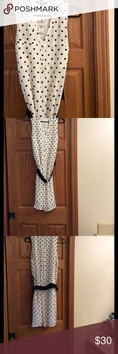 New Express Polka Dot Dress Adorable White with Black Polka Dots Dress. New with Tags. Medium With Belt. Express Dresses
