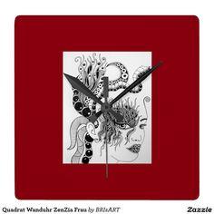 Quadrat Wanduhr ZenZia Frau Clock, Wall, Shop, Decor, Wall Clocks, Drawing S, Woman, Watch, Decoration