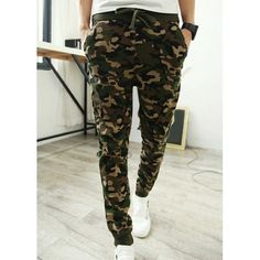 Camouflage Style Lace-Up Slimming Elastic Cuffs Narrow Feet Men's Cotton Blend Harem Long Pants