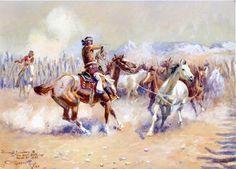 Charles Marion Russell | Charles Marion Russell >> Navajo Wild Horse Hunters | (acquerello ...