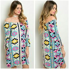The Bree Dress Size S M L Beautiful dress that can be worned on shoulders or off Spring 2016, material is polyester and spandex Sizes available S M L  Price Firm unless bundled  Measurements  S Bust Measures 18 inches  M Bust Measures 19 inches  L Bust Measures 20 inches boutique  Dresses