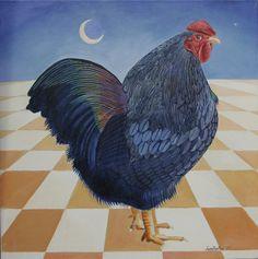 """Black Wyandotte"" oil on canvas"