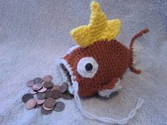 Crochet Magikarp Drawstring Pouch :D this was the face I made when I saw this lol