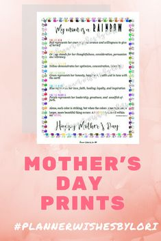 Items similar to Mother's Day digital art print Gifts For Your Mom, Perfect Gift For Mom, Grandma Gifts, Mothers Day Crafts, Mother Day Gifts, Mother's Day Printables, Mothers Day 2018, Youre My Person, Rainbow Print