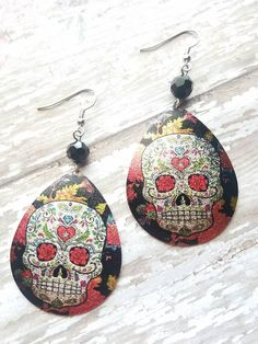 Earrings to love! https://www.etsy.com/listing/510212440/candy-skull-large-dangle-earrings-gifts