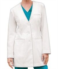 "Grey's Anatomy 4440 lab coat is collarless and tagless with shoulder pads for shape. Features 3 welt pockets and princess seaming. Center back length is approx. 33½"" for size M. 60/40 Cotton/Poly peached twill."