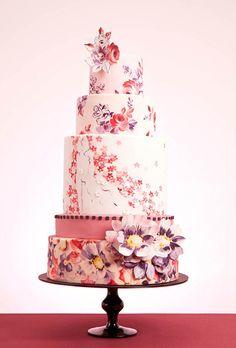 Sugar Flower on Hand Painted Wedding Cake