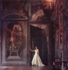 Slim Aarons, Donna Domitilla Ruspoli in the gallery of her Palazzo Ruspoli in Rome, 1960