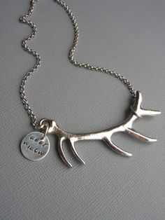 Personalized Hand-Stamped Antler Necklace: Deer Widow, Hunting Necklace, Unique women's necklace, on Etsy, $28.00