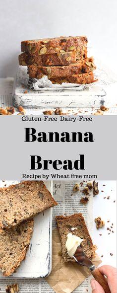 Gluten-Free Dairy-Free Banana Bread Dairy Free Banana Bread, Gluten Free Banana, Dairy Free Baking, Dairy Free Recipes, Loaf Recipes, Banana Bread Recipes, Raw Pumpkin Seeds, Banana Chips, Chocolate Treats