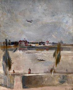 На Москве реке. 1932.Александр Лабас (1900-1983) / River in Moscow (1932) by Alexander Labas (1900 - 1983).