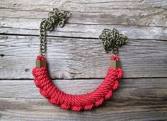 Red rope necklace Nautical knot necklace Knotted by NasuKka