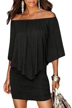 Sidefeel Women Off Shoulder Ruffles Bodycon Mini Dress Dress Clothes f3174fec7