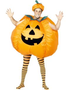 The Adult Inflatable Pumpkin Halloween Costume includes an inflatable pumpkin bodysuit with a built-in self inflating fan.