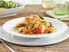 Vegetable pasta with shrimp - diet recipes spaghetti