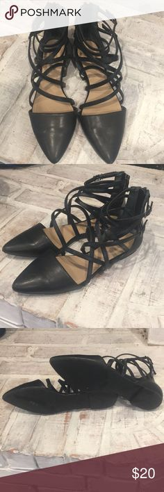 BCBG Black Strappy Flats Super cute strappy flats. Like new condition. Worn once for a couple hours for an interview. Too cute to just sit in my closet. With two under two I don't get dressed much! lol  Make me an offer 😊 BCBGeneration Shoes