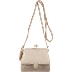 Pre-owned Judith Leiber Shoulder Bag ($295) ❤ liked on Polyvore featuring bags, handbags, shoulder bags, metallic, coin purse, white handbags, suede purse, coin pouch and suede handbags