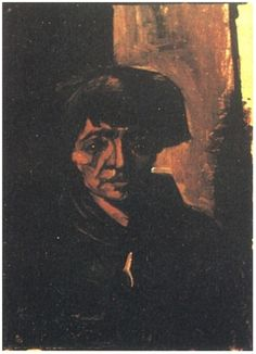Cabeza de una mujer campesina con gorra oscura  Vincent van Gogh Pinturas, Óleo sobre tela sobre hoja Nuenen: octubre, 1884 Colección privada Fribourg, Suiza, Europa F: 120, JH: 519