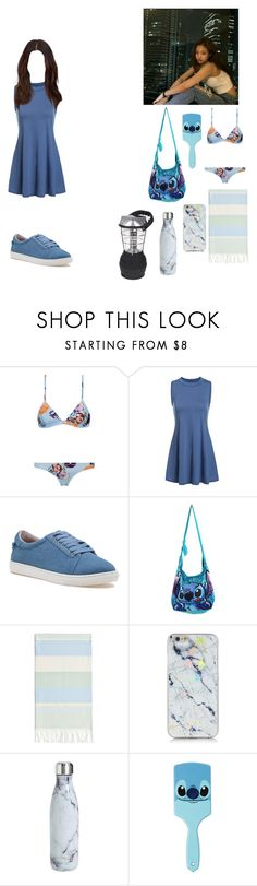 """""""☆Night at the beach, anyone wanna join?-Yuna☆"""" by girl-gang-official ❤ liked on Polyvore featuring J/Slides, GET LOST, Disney, Linum Home Textiles and S'well"""