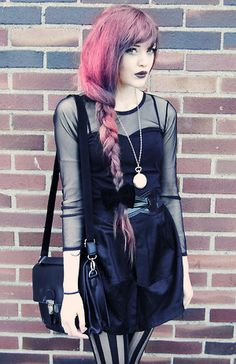 Black dress with sheer sleeves - got to show off some flesh. Love the hair ro brighten it up x