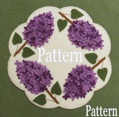 Bloomin' Lilacs Penny Rug Candle Mat Pattern Wool Applique