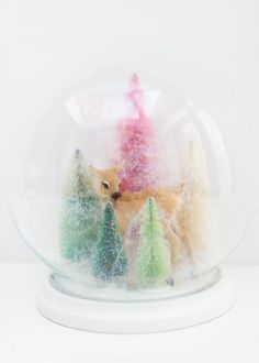 Pastel bottle brush trees in winter snowglobe. Adorable, colorful, holiday decor