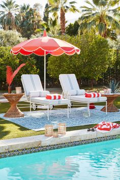 Dani Pom-Pom Patio Umbrella, Melon - Outdoor Essentials - Outdoor One Kings Lane , Backyard Playground, Backyard Retreat, Pool Umbrellas, Outdoor Rooms, Outdoor Decor, Pool Remodel, Lawn Furniture, Decoration, Swimming Pools