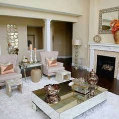 Posh Living Room Design Ideas For Luxurious Home New Living Room, Formal Living Rooms, Home And Living, Living Room Decor, Inspire Me Home Decor, Home Decor Inspiration, Design Inspiration, Living Room Designs, Luxury Homes
