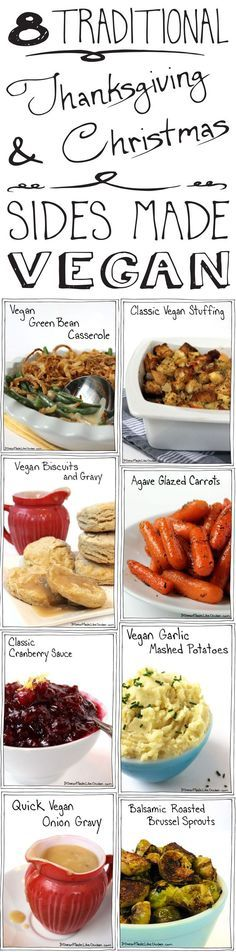 8 Traditional Thanksgiving & Christmas Sides Made Vegan. Delicious enough for ev… 8 Traditional Thanksgiving & Christmas Sides Made Vegan. Vegan Foods, Vegan Dishes, Vegan Lunches, Vegan Meals, Plat Vegan, Vegan Raw, Vegan Green Bean Casserole, Vegetarian Thanksgiving, Thanksgiving Sides