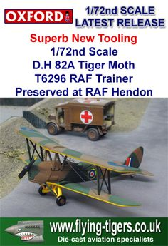 72TM001 Stunning New Release 1/72nd Scale Oxford Premium De Havilland D.H. 82A Tiger Moth 'Classic RAF Flight Trainer' - Magnificent new High Quality release, which is close to sell out!