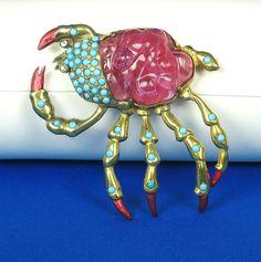 "Hattie Carnegie Signed ""HC"" Glass Enamel Crab Pin"