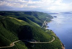 Cabot Trail, Nova Scotia, Canada This scenic highway loops around the northern tip of Cape Breton Island in Nova Scotia, offering breathtaking views of the coast. It also passes through Cape Breton Highlands National Park. Cabot Trail, Cap Breton, Travel Sweepstakes, Travel Channel, Plein Air, Nova Scotia, Places To See, Nature, National Parks