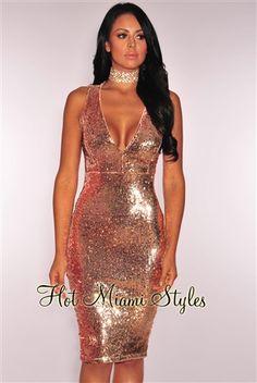 Rose Gold Liquid Sequins Key Hole Back Dress. Women s Fashion DressesSexy  ... 4d01a6b1d8c1