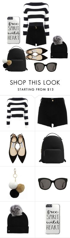 """Black"" by biaccastilho ❤ liked on Polyvore featuring Boutique Moschino, River Island, Jimmy Choo, MANGO, Under One Sky, Gentle Monster and UGG"