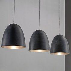SalesFever Hängeleuchte mit 3 Lampenschirmen grau Platea