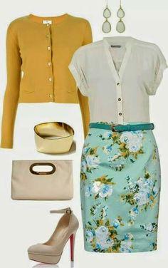 Mustard sweater,  crisp white top, powder blue floral skirt, large gold bangle