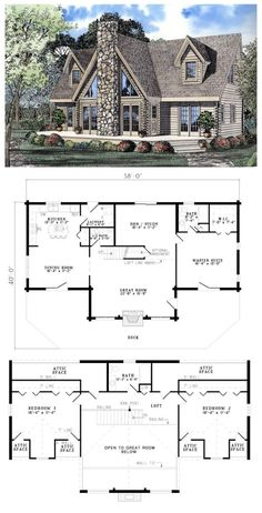 house plan 61105 total living area 2402 sq ft 3 bedrooms amp 25 bathrooms any mountain or flat land would feel honored to have this gorgeous log home plan placed on it houseplan aframe - PIPicStats Log Home Plans, Lake House Plans, House Floor Plans, Log Cabin Floor Plans, Mountain Home Plans, A Frame House Plans, Dream Home Plans, Log Home Decorating, Decorating Ideas