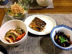 今夜は常備菜ばかり(^ ^) - 49件のもぐもぐ - 鯖の醤油麹煮 ヒジキの煮物 ゴーヤナムル 大根と水菜のサラダ by ayuzato